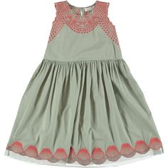 Stella McCartney Olive Bay Embroidered Dress From a collection inspired by the designer's childhood memories of the seaside, this olive 'Bay' dress has a pretty embroidered shell design along the hem and across the bodice. Made in lightweight cotton, it is finished with tulle along the hem and fastens with a button on the back. 100% Organic Cotton.