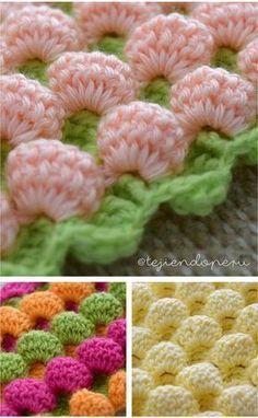 Crochet: punto burbujas Video tutorial #crochet #stich