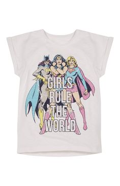 Primark - Girls Rule The World Superhero T-Shirt Batgirl Supergirl Wonder Woman