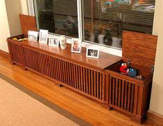 Wooden radiator covers. Would have loved these for our place in Seattle!