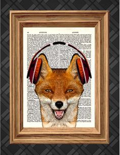 Red Fox with Headphones- Dictionary Art Print, Up-cycled Antique Book Art Page, Home Decor, Mixed Media Collage , Original Vintage Poster