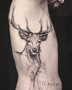 deer tattoo by l'oiseau