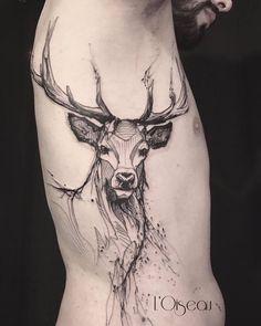 deer tattoo by l'oiseau
