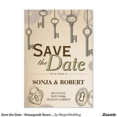 Shop Save the Date - Steampunk Gears and Keys created by MagicWedding.