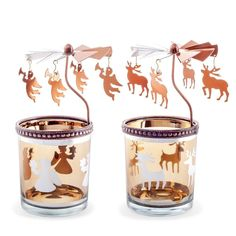 Spinning Copper Metal Christmas Carousel Tea Light Candle Holders Decorations