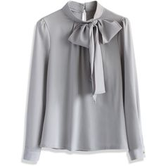 Chicwish Kiss Me Bow Top in Grey (€38) ❤ liked on Polyvore featuring tops, blouses, chicwish, grey, shirts, bow top, grey blouse, bow tie top, bow blouse and tie blouse