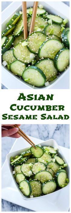 Asian Cucumber Sesame Salad This fresh, gluten free, vegan cucumber salad is full of delicious Asian flavors! Asian Cucumber Sesame Salad This fresh, gluten free, vegan cucumber salad is full of delicious Asian flavors! Veggie Recipes, Vegetarian Recipes, Cooking Recipes, Sausage Recipes, Gluten Free Korean Recipes, Fat Free Recipes, Chef Salad Recipes, Healthy Asian Recipes, Asian Snacks