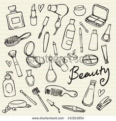Beauty & cosmetics icons vector doodles