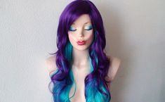 Deep purple / Teal blue Ombre wig. Long curly hair purple blue color wig. Quality synthetic wig for Cosplay or daytime use