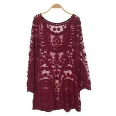 XL MAROON RED FESTIVAL SEXY SHEER LACE TUNIC BLOUSE TOP MINI DRESS BLOGGERS FAV
