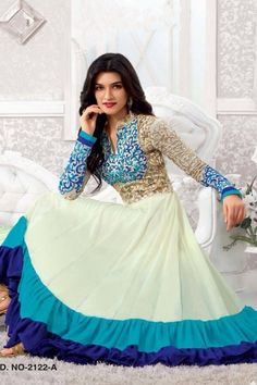 THANKAR OFF WHITE & BLUE EMBROIDERED GEORGETTE SEMI-STITCHED ANARKALI SUIT  #SalwarSuit #BuySalwarSuitsOnline #DressesOnlineShopping #SalwarSuitsOnlineShopping