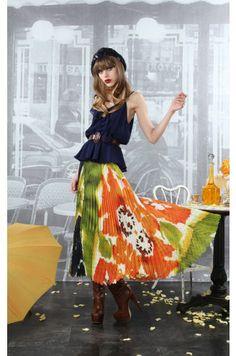 Cleo Pleated Long Skirt