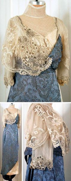 Evening dress, French, 1914. Metallic sky blue print silk and ivory satin. Heavily beaded and embroidered. Asymmetric lace bodice and sleeves; rhinestone accents and dotted net collar. Rose appliquéd draped-back train. Timeless Vixen Vintage/Etsy
