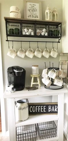 Small corner kitchen coffee bar ideas - LOVE the rustic farmhouse look!