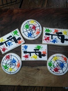 Paintball party cookies - loving the target/scope ones