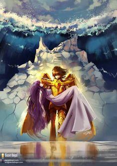 Saving you again - Saint Seiya - Fanart by danielbogni on DeviantArt Pegasus, Fan Art, Manga Anime, Anime Art, Athena Goddess, Aphrodite, Animation, Cartoon Games, Gold Art