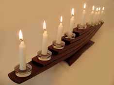 Il Veliero, Green Candelabrum, Eco friendly Menorah, recycled oak wine barrel staves candleholder, nine glass holders and candles Wood Candle Holders, Candle Stand, Glass Holders, Porch Trellis, Wine Barrel Furniture, Barrel Projects, Hanukkah Menorah, Wooden Lamp, Taper Candles