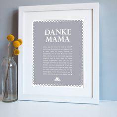"personalisierter druck ""danke mama"" by elephant grey | NotOnTheHighStreet.de"