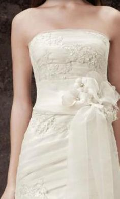 Wedding Dress Accessories - Sash/Belt Ivory Vera Wang White Garza Sash with Lace Appliques Style VW370135 $40 USD - Used