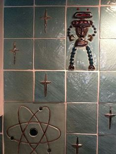 1950s - Tiles: atomic motif, stars, robot/space alien. - (interior decor, space race & atomic era, MCM, mid century modern)