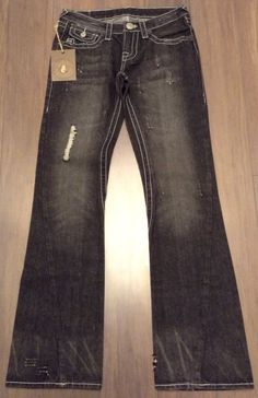 RARE NWT True Religion Women Jeans Summer 07 Black Size 28 04844 100% AUTHENTIC #TrueReligion #Flare