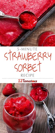 5-Minute Strawberry Sorbet | This strawberry treat is a sorbet/frozen yogurt hybrid and we can attest to the fact that it's one of the easiest things we've ever made.