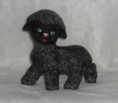 Black Sheep Ceramic Figurine. Hand Painted Item. OOAK gift for any animal collector. Ostara/Easter Themed. by StampersCraftsGifts on Etsy
