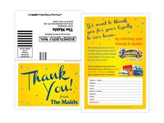 Referral business reply card for The Maids Keywords: direct mail, marketing, graphic design, corporate, business, yellow, postcard, cleaning, home services, professional, service provider, contractor, thank you