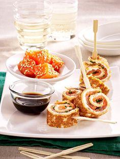 Crêpes mit Lachs-Frischkäse-Füllung