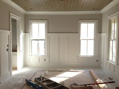pine tongue and groove ceiling with 5' tall wainscoting I did in Atlanta