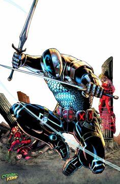 Teen Titans #23.2: Deathstroke by Eddy Barrows and Eber Ferreira. Villains Month Guide ~ Part 3 Deathstroke Comics, Deathstroke The Terminator, Deadshot, Deathstroke Cosplay, Comic Book Covers, Comic Books Art, Comic Art, Book Art, Superman