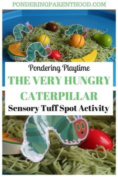 An easy sensory spaghetti tuff tray EYFS activity linked to The Very Hungry Caterpillar by Eric Carle Coloured spaghetti and wooden fruit makes for a great messy play experience! Click the image for more info.