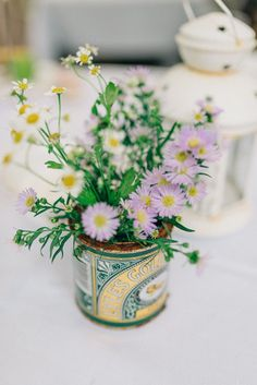 Wild Flowers in Recycled Tin Cans