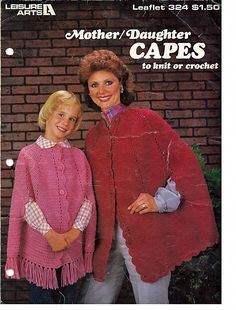 Mother/Daughter Capes to Knit or Crochet Pattern Book from Leisure Arts Book 324 by grammysyarngarden on Etsy