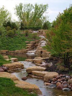 Waterfall landscaping design.