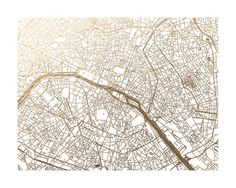 Paris Map Foil-Stamped Wall Art