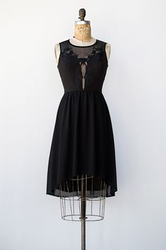 vintage inspired black illusion lace dress with high low hem