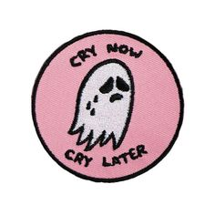 CRY NOW CRY LATER PATCH ($10) ❤ liked on Polyvore featuring accessories, fillers, patches, pink and pins