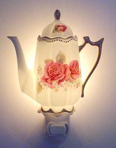 Beautiful Translucent Roses Miniature Tea Pot Night Light