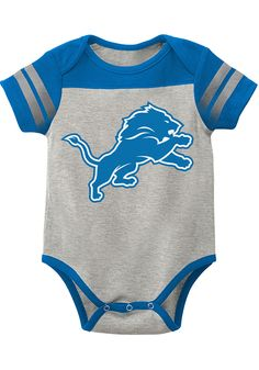 Detroit Lions Baby Grey Lil Blocker Short Sleeve One Piece - Image 1 Cincinnati Bengals, Pittsburgh Steelers, Dallas Cowboys, Houston Texans, Denver Broncos, Detroit Lions T Shirts, Lion Hat, One Piece Images, Nfl Cheerleaders