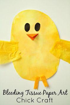 Easter Craft for Kids...bleeding tissue paper art Easter Chick
