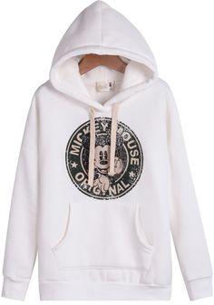 White Hooded Long Sleeve Mickey Print Sweatshirt 21.33