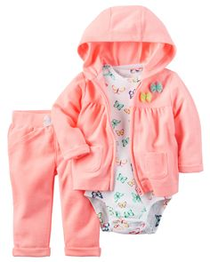 Designed for all-day play, dressing is easy with this ready-to-wear matching set. Featuring a neon French terry jacket and pants, this 3-piece set is complete with a coordinating cotton bodysuit.