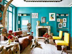 Ambiente com parede azul