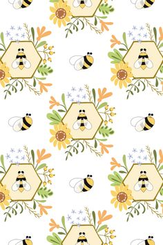 Honey Bee patterns Cute Bee, flowers digital paper
