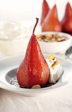 ooo-la-la...so fancy, but look really simple to prepare! ::: Poached Pears with Pinot from @Amy Lyons Lyons Johnson / She Wears Many Hats