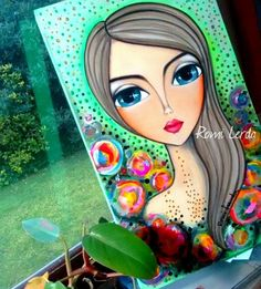 La imagen puede contener: 1 persona Oil Painting Flowers, Fabric Painting, Pop Art Face, Mosaic Flowers, Mini Canvas Art, Indian Art Paintings, Simple Acrylic Paintings, Make Up Art, Hippie Art