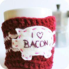 Knotwork — Funny coffee mug I Love Bacon crochet handmade