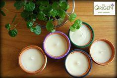 Eco-velas De Origen aromáticas y coloridas. De Origen Colorful and aromatic eco-candles.