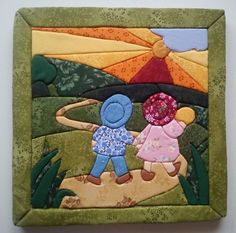 Basteln im Patchwork: Patchwork ohne Nadeln - Basteln im Patchwork: Patchwork ohne Nadeln - Patchwork Baby, Crazy Patchwork, Sunbonnet Sue, Crochet Home Decor, Sewing Appliques, Applique Quilts, Applique Designs, Machine Quilting, Baby Quilts